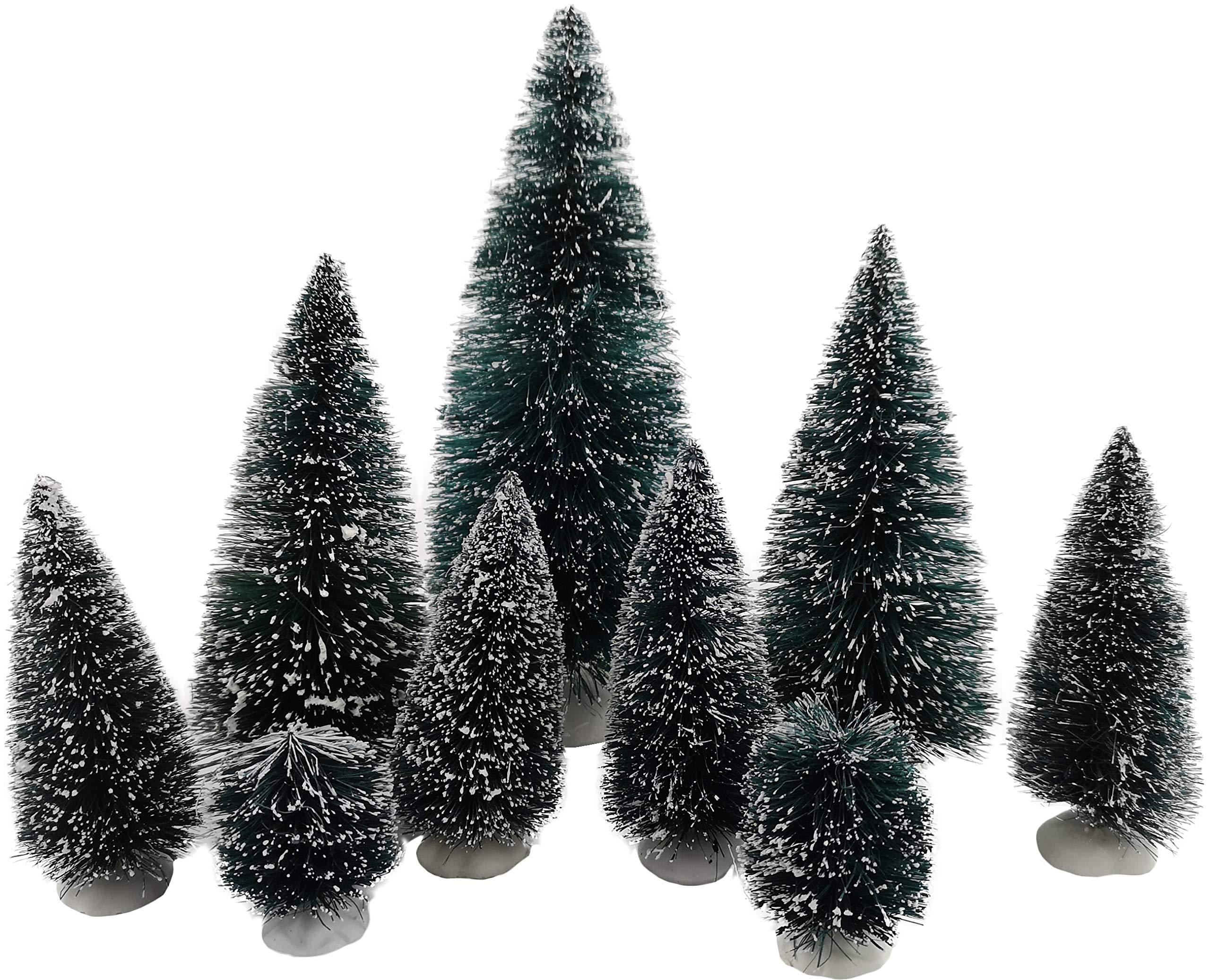 My-goodbuy24-Deko-Knstliche-Mini-Tannenbaum-Set-9-teilig-Weihnachtsbaum-Weihnachtsdekoration-Modelleisenbahn-Baum-beschneit-Miniatur