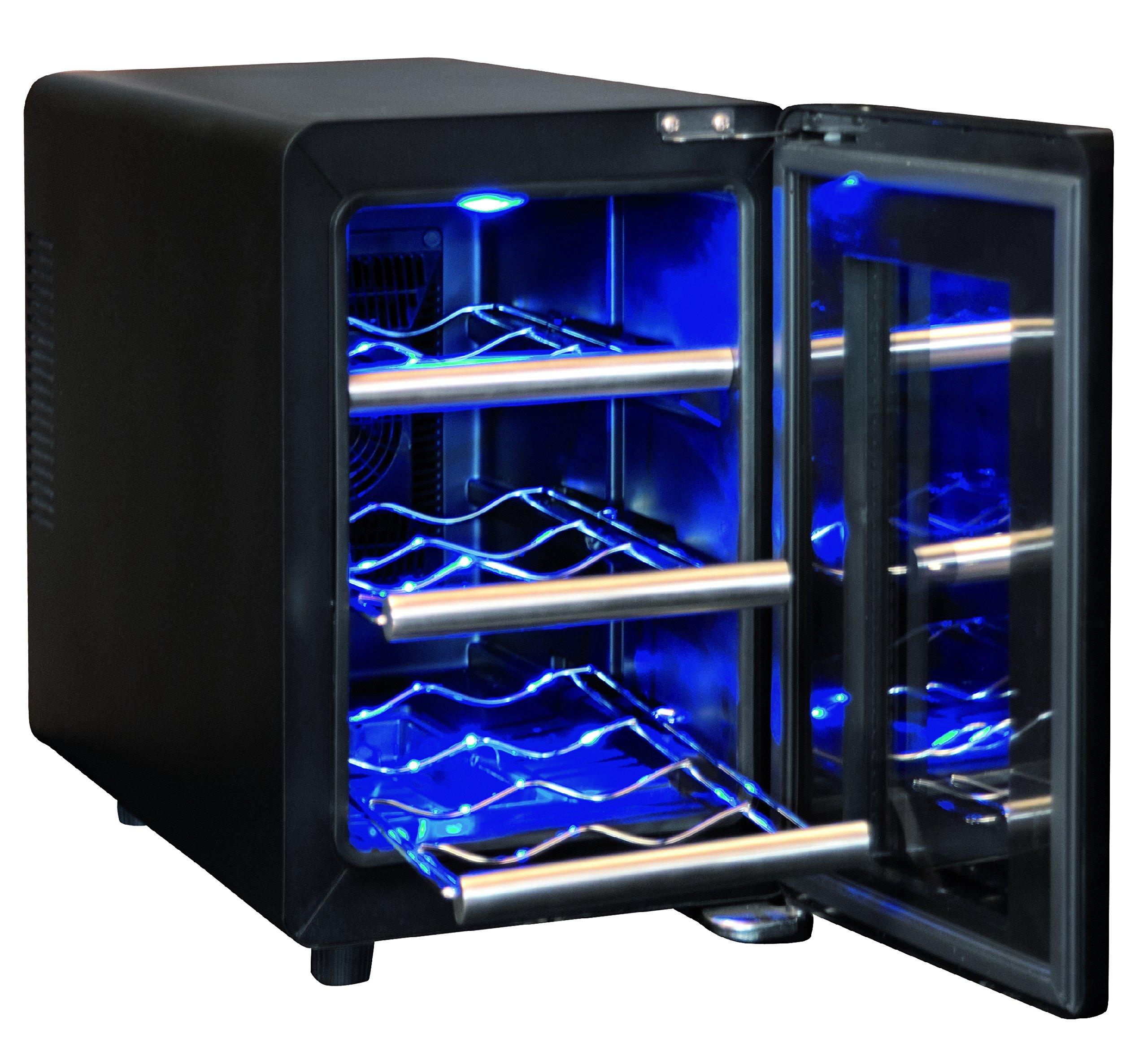 Sonnenknig-of-Switzerland-Cava-6-Mono-Weinkhlschrank500-cm-HheAusfhrung-aus-Edelstahl-und-GlasInnenbeleuchtungsilberschwarz