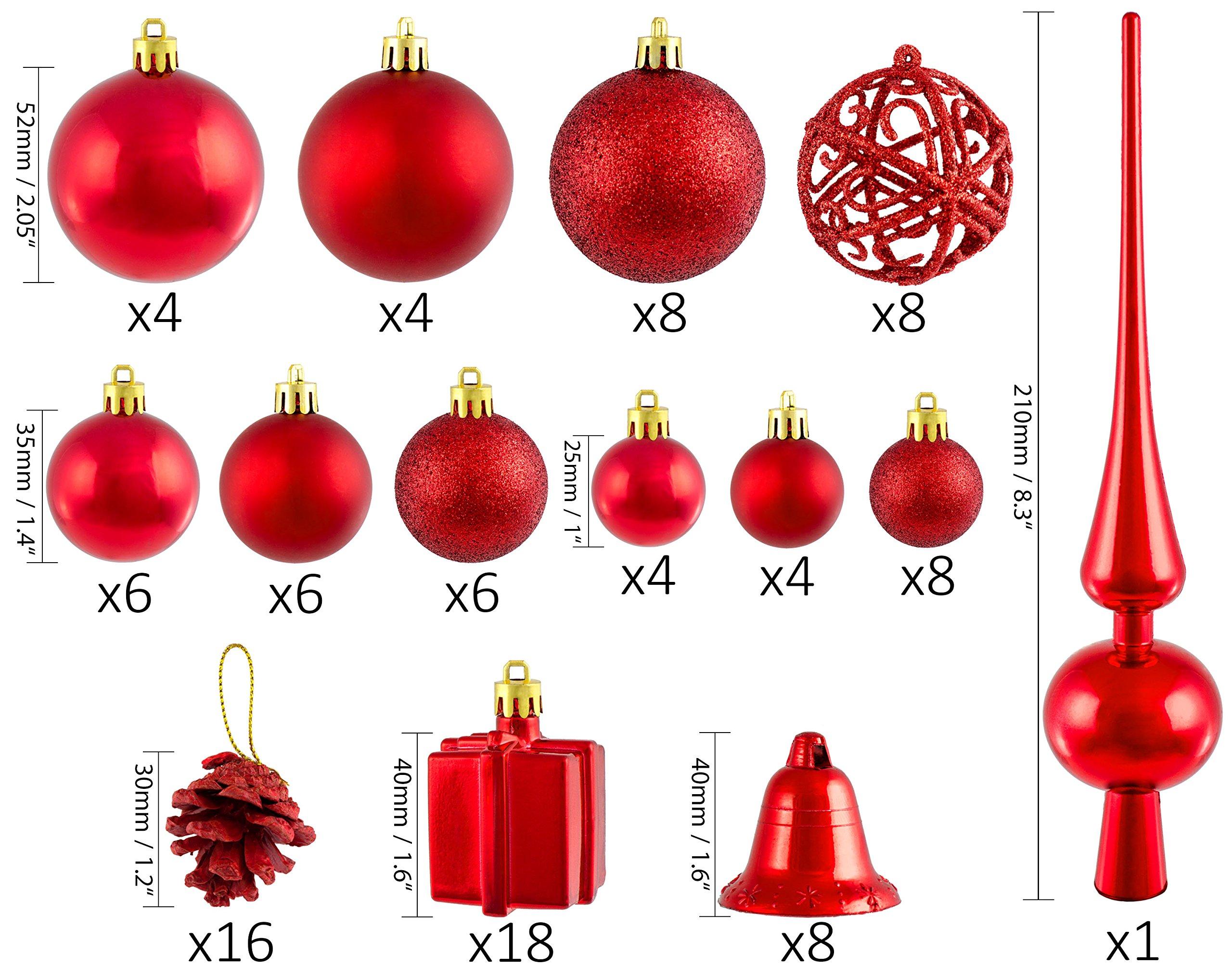 Brubaker-Christbaumkugel-Set-mit-Tannenzapfen-Weihnachtsglocken-Geschenken-Christbaumspitze-Christbaumschmuck-101-Teile-Rot