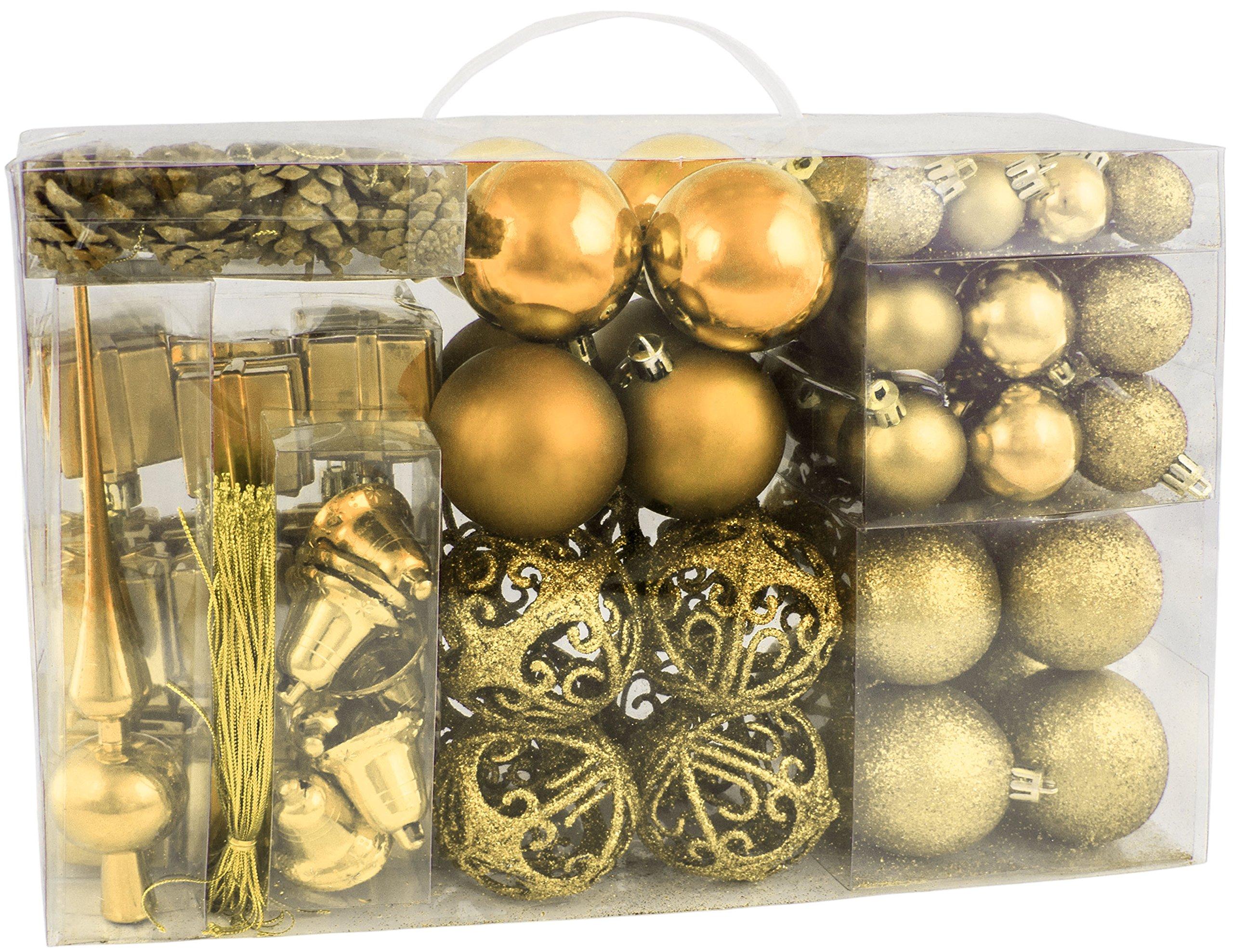 Brubaker-Christbaumkugel-Set-mit-Tannenzapfen-Weihnachtsglocken-Geschenken-Christbaumspitze-Christbaumschmuck-101-Teile-Gold