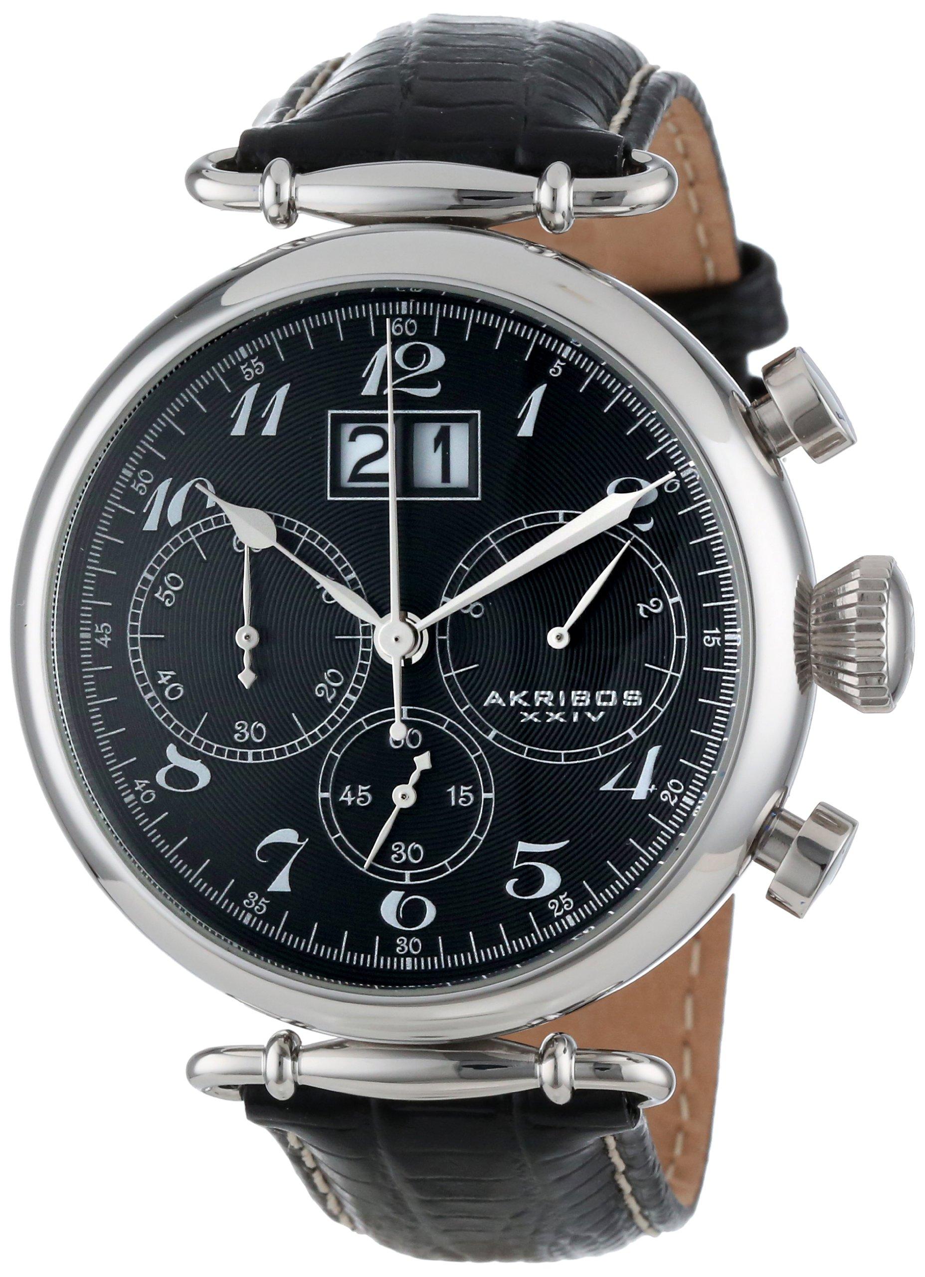 Akribos-XXIV-Herren-Analog-Quarz-Uhr-mit-Leder-Armband-AK628BK