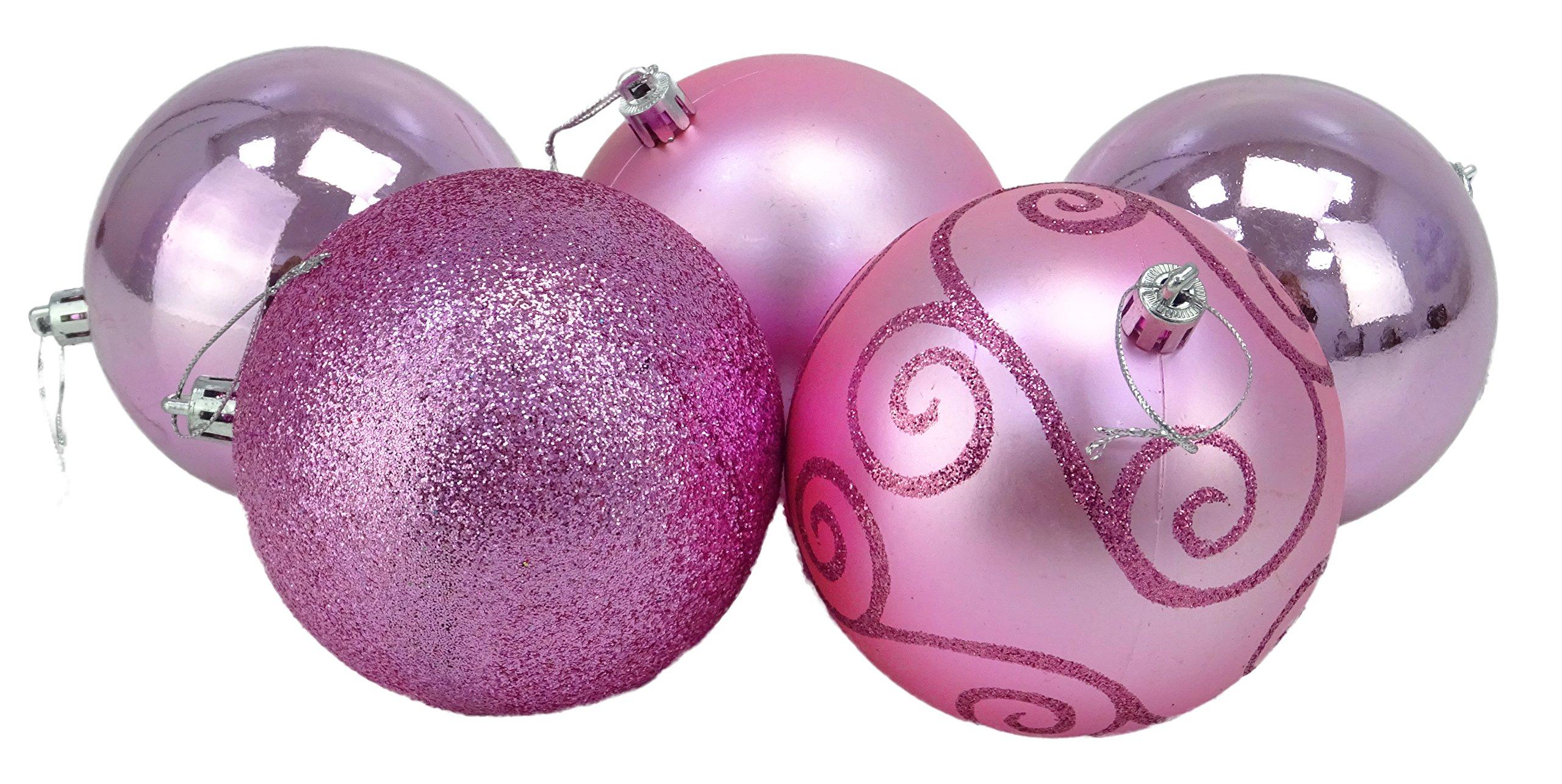 Christmas-Concepts-5-100mm-groe-Kugeln-glnzendes-Mattes-und-Glitzer-Design-Weihnachtsschmuck