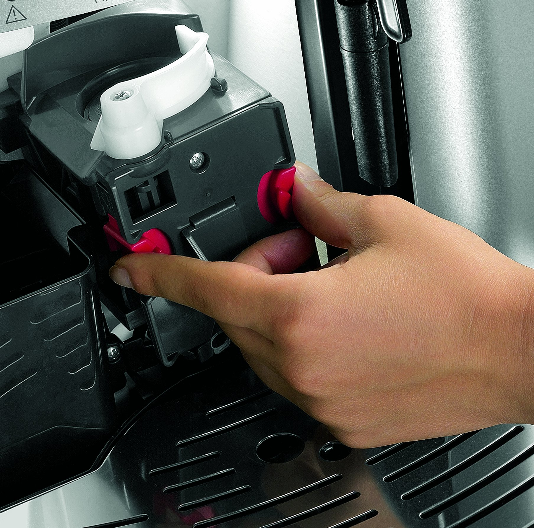 DeLonghi-ESAM-2200-Kaffeevollautomat-Direktwahltasten-und-Drehregler-Milchaufschumdse-Kegelmahlwerk-13-Stufen-Herausnehmbare-Brhgruppe-2-Tassen-Funktion-silber
