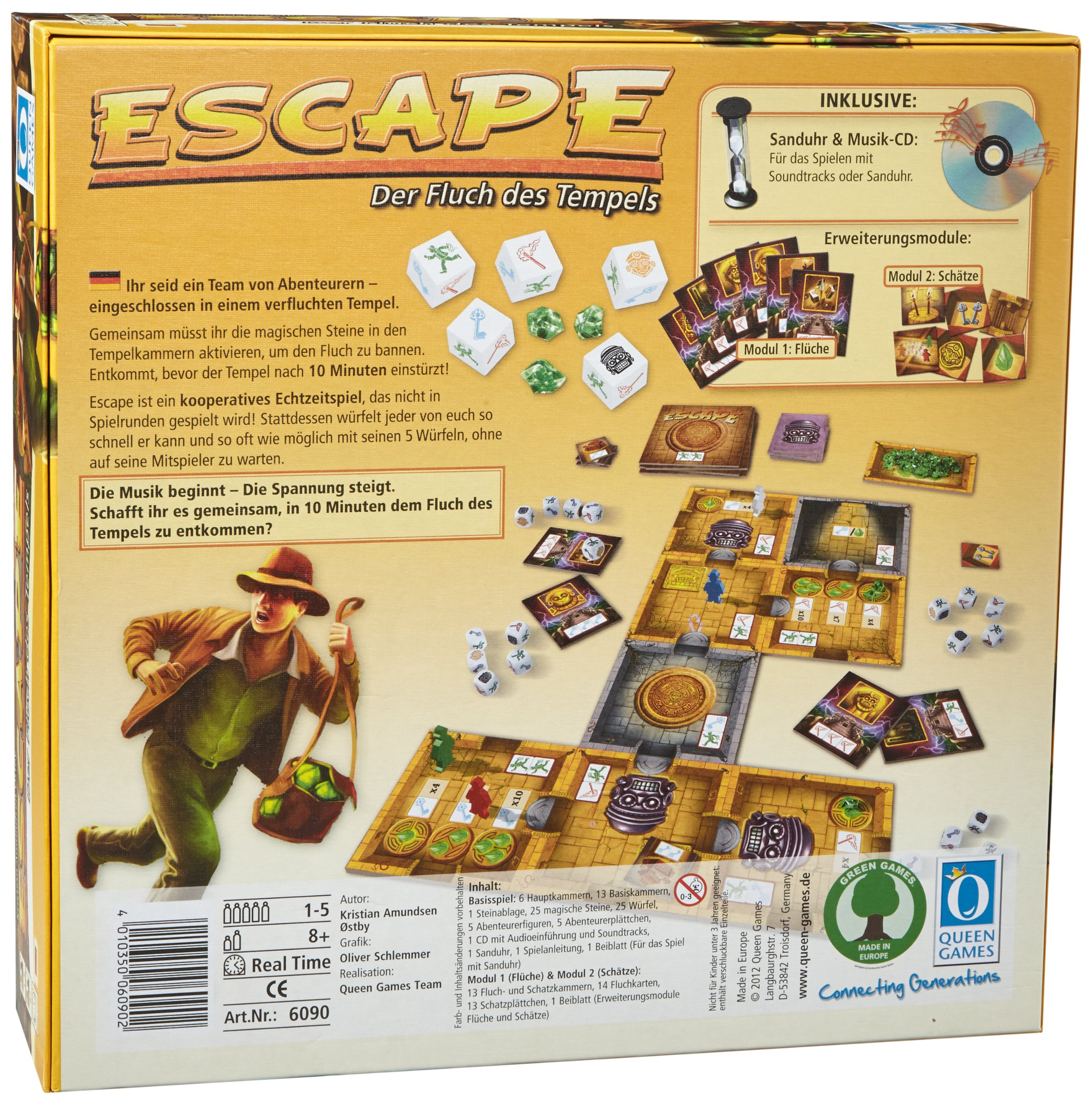Queen-Games-6090-Escape-Der-Fluch-des-Tempels-kooperatives-Gesellschaftsspiel