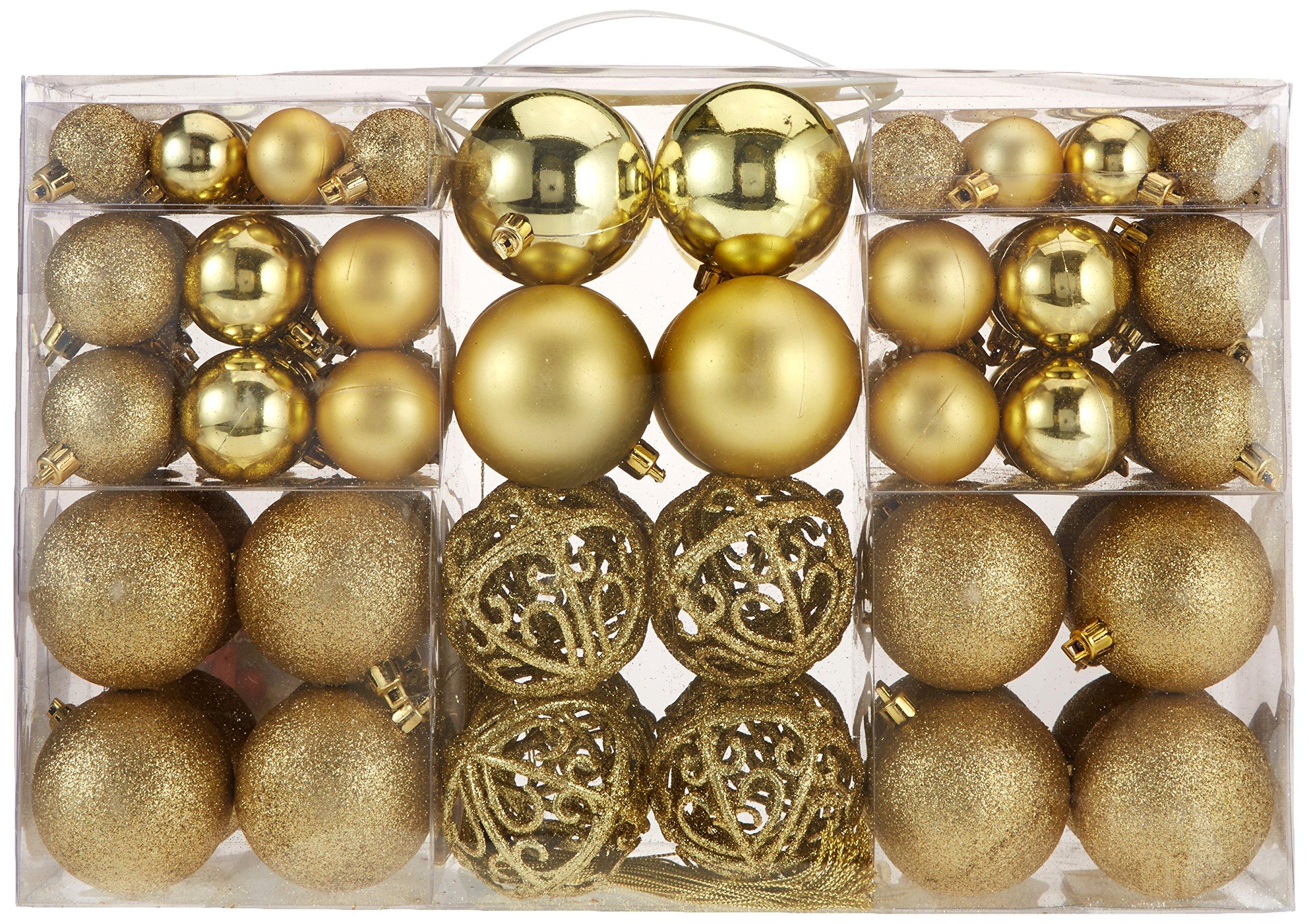 100-Weihnachtskugeln-Gold-glnzend-glitzernd-matt-Christbaumschmuck-bis–6-cm-Baumschmuck-Weihnachten-Deko-Anhnger